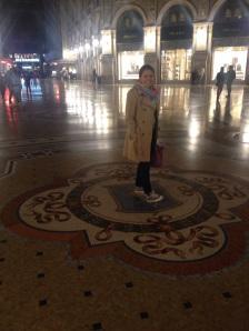 Dando vueltas en el emblema de Turín al interior de la Galleria Vittorio Emanuele II